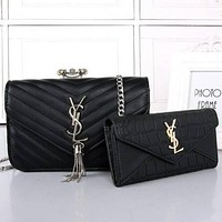 Perfect YSL Women Shopping Bag Leather Chain Satchel Shoulder Bag Crossbody Two Piece Set