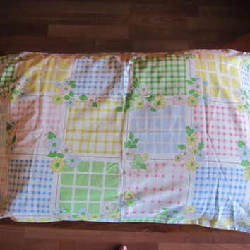 70s Gingham Patchwork Pillowcase.  Standard Size.