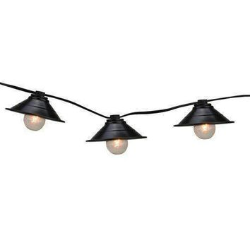 Set of 10 Black Metal Pendant Lantern Summer Garden Patio Lights - Black Wire