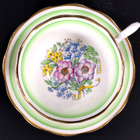 Royal Albert 1960's Hand Painted Floral Teacup and Saucer, High Handled Tea Cup, Made in England J-1699