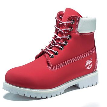 Best Deal Online Timberland 10061 Leather Lace-Up Boot Men Women Shoes Red White