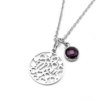 "Stainless Steel ""Mom"" Birthstone Charm Necklace"