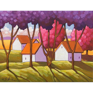 PAINTING ORIGINAL Folk Art Cottage Purple Pink Tree Green Grass Scenery Landscape Colorful Spring Abstract Fine Artwork Shadow Horvath 14x18