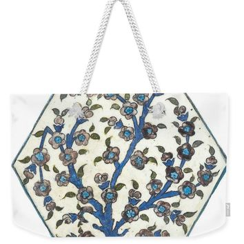 An Ottoman Dmascus Style Floral Design Hexagonal Pottery Polychrome, By Adam Asar, No 12b - Weekender Tote Bag
