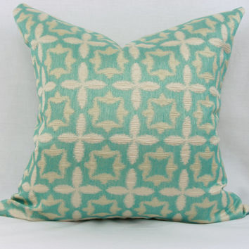 "Aqua blue & ivory pillow cover. Waverly Stardust jacquard decorative pillow cover. 20"" x 20"" pillow."