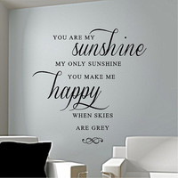 You Are My Sunshine - Vinyl wall decal, vinyl sticker lettering word art