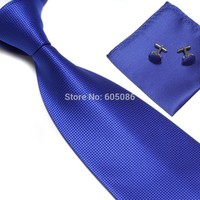 solid color blue men's business neck tie set necktie hanky cufflinks