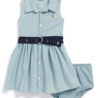 Infant Girl's Ralph Lauren Belted Chambray Sleeveless Shirtdress & Bloomers, Size 18M - Blue
