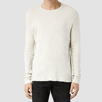 Mens Laurel Long Sleeved Crew T-shirt (Grey/Chalk) | ALLSAINTS.com