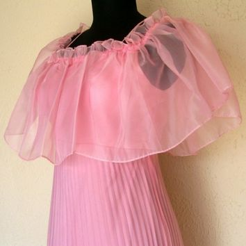 Vintage Prom Dress. 1960s Chiffon Gown. Floor Length. Ruffles. Accordian Style. Cotton Candy Pink. Mad Men Era Fashion. Size Small.