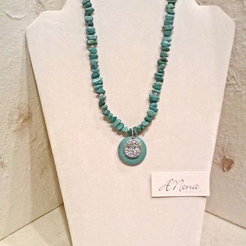 "Necklace For Everyone: Genuine Magnesite And 925 Sterling Silver ""Success"" Reversible"