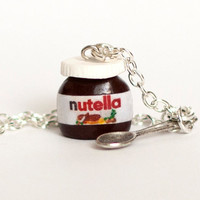 Nutella necklace kawaii chocolate miniature Polymer clay sweet dessert