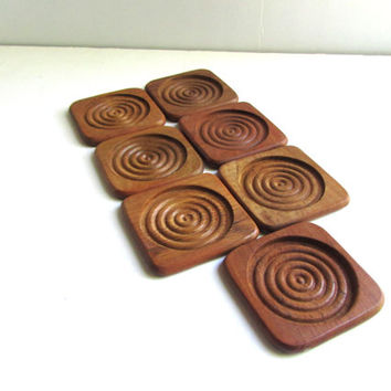 Mid Century Modern Stacking Teak Coaster Set
