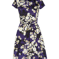Blue and Black Daisy Print Cap Sleeve Dress