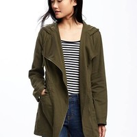 Hooded Twill Asymmetric-Zip Field Jacket for Women | Old Navy