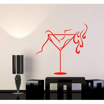 Vinyl Wall Decal Martini Glass Sexy Stripper Girl Alcohol Cocktail Stickers (2937ig)
