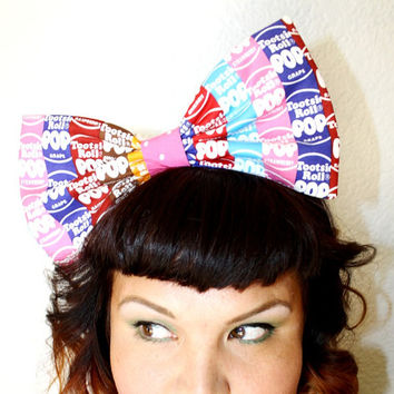 Tootsie Roll Pop, Hair Candy, BIG Bow, Headband