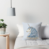 'Unicorn Blue Hair Drawing' Throw Pillow by ironydesigns