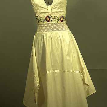 Vintage 1970 Flirty Bohemian Halter, Cotton Sun Dress, New