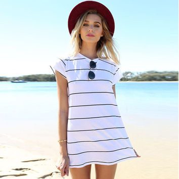 White Striped Sundress