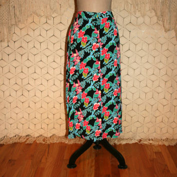 Long Floral Skirt 90s Button Up Maxi Summer Hawaiian Tropical Grunge Black Teal Pink 1990s Vintage Rayon Petite Size Medium Womens Clothing