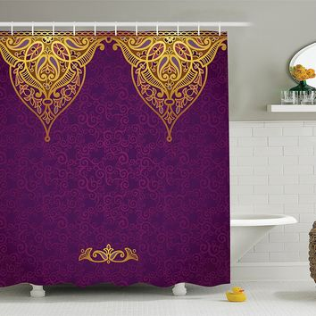 Boho Royal Palace Purple Gold Shower Curtain