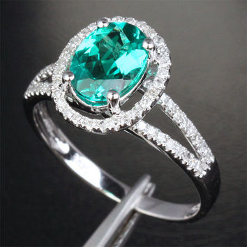 7x9mm Emerald 14K White Gold Pave .32ctw Diamonds by ThisIsLOGR