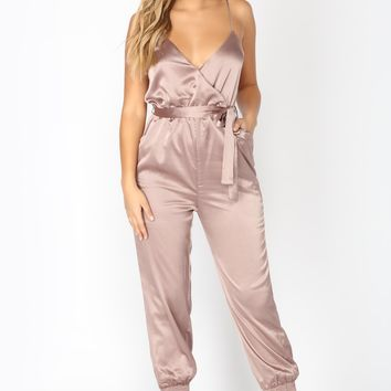 At The Table Satin Jumpsuit - Mocha