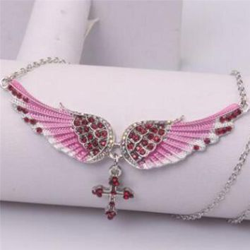 Fashion Silver Chain Rhinestone Angel Wing Necklace for Women Cross Pendants Jewelry Crystal Collares Choker