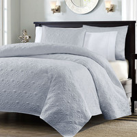 King Size Grey Quilted Coverlet Bedspread Quilt Set with 2 Shams