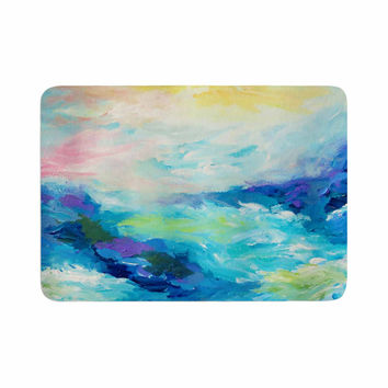"Ebi Emporium ""Taken By The Undertow"" Green Blue Memory Foam Bath Mat"