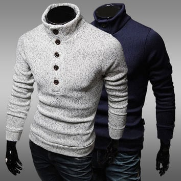Mens Slim Half Button Turtleneck Sweater