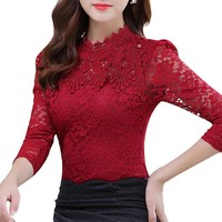 Lace Blouse Long Sleeve Slim Body Floral Shirt