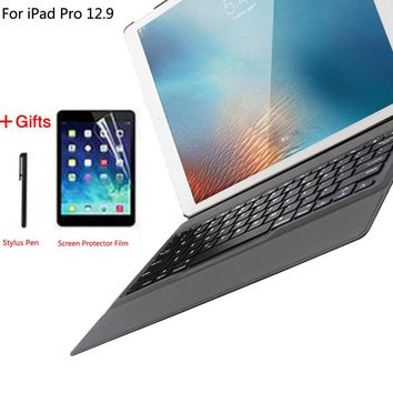 Ultra Thin Wireless Bluetooth Keyboard Cover Case for Apple iPad Pro 12.9 2015 2017 A1584 A1652 A1670 A1671+Stylus Pen+Film