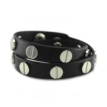 Silver Studded Black Leather Double Wrap Bracelet
