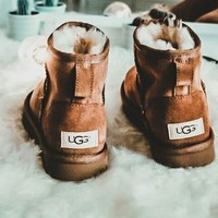 "shosouvenir  ""UGG"" Women Fashion Wool Snow Boots Calfskin Shoes"