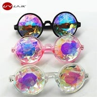 UVLAIK Round Kaleidoscope Glasses Women rave festival Sunglasses Men Holographic Glasses Colorful Celebrity Party Eyewear