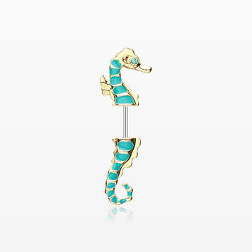 A Pair of Golden Seahorse Fake Taper Earring