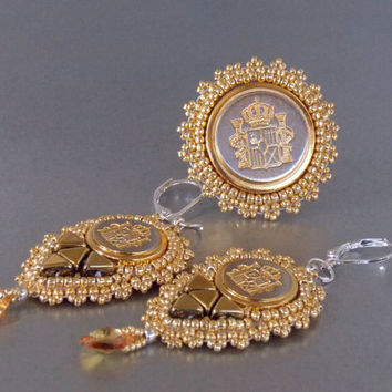 Free Shipping, Ring and Earring ,Bead embroidery , Seed beads jewelry, Fashionable ring and earring, Gold, Metal button