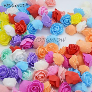 50Pcs/lot 3.5cm Multicolor PE Foam Rose Artificial Flowers For Wedding Box Handmade Decoration Home DIY Wreath Supplies