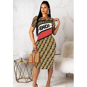 Fendi Fashion New Summer More Letter Print Shorts Sleeve Dress Women Yellow