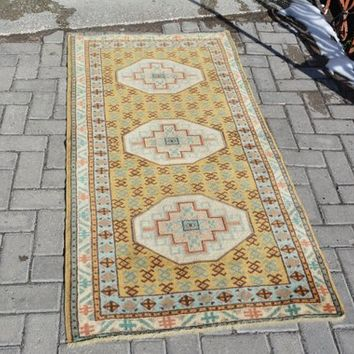 Oushak Rug Turkish Rug Anatolian Rugs Vintage Rug Hallway  Rug Area Rug Overdyed Rug Distressed Rug Shabby Chic Unique 5.4 x 2.7 Feet AG209