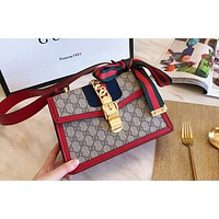 GUCCI 2019 new high quality women's chain bag shoulder bag Messenger bag red