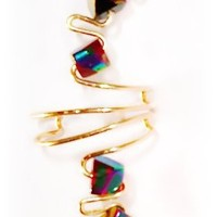 Pierceless Ear Cuff Wrap - Handcrafted w/ Multicolor Glass Beads and Golden Tarnish Resistant Wire