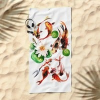 Koi Fish in Pond, Feng Shui Beach Towel by sureart