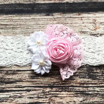 Pink and White Satin Flowers, Ruffle and Lace Headband