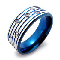 Blueish Colored Titanium Steel Ring for Men's Style-Size 7