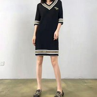 DCCK6HW Gucci' Fashion Casual Embroidery Bee Multicolor Stripe V-Neck Middle Sleeve Knit Mini Dress