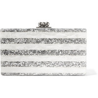 Edie Parker - Jean striped glittered acrylic box clutch