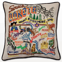 South Dakota Hand Embroidered Pillow